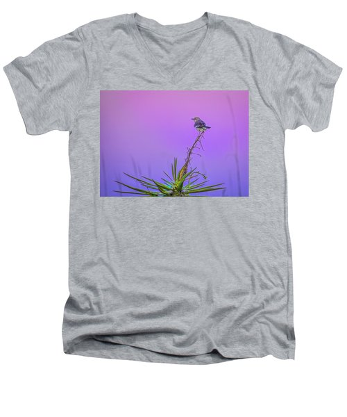 Men's V-Neck T-Shirt featuring the photograph Mocking The Yucca by Rob Sellers