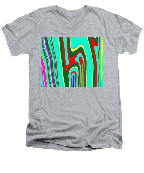 Men's V-Neck T-Shirt featuring the painting Mod Stripes  C2014 by Paul Ashby