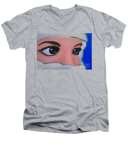 Men's V-Neck T-Shirt featuring the painting Modesty by Marisela Mungia