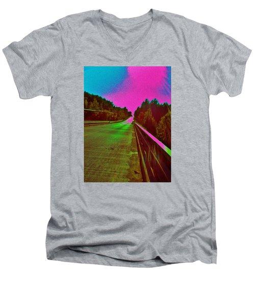 Men's V-Neck T-Shirt featuring the photograph Moffit Bridge And Maple Ridge Rd. by Daniel Thompson