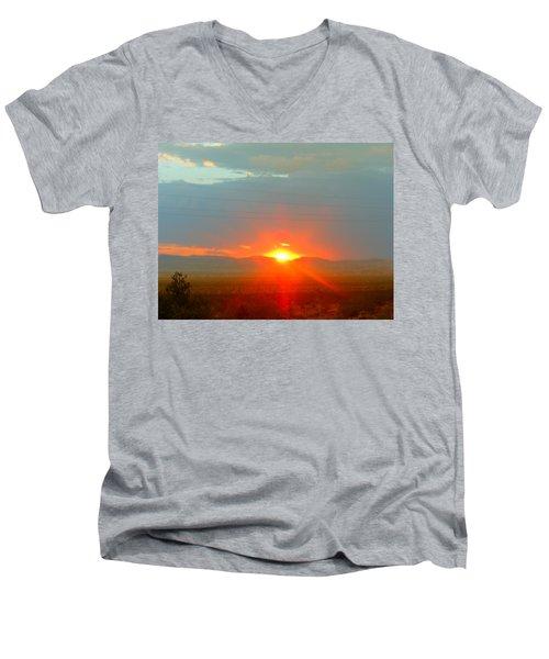 Mohave Sunset In Golden Valley Men's V-Neck T-Shirt