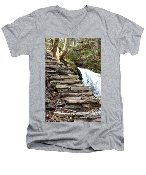 Mohawk Falls Steps Men's V-Neck T-Shirt by Patti Whitten
