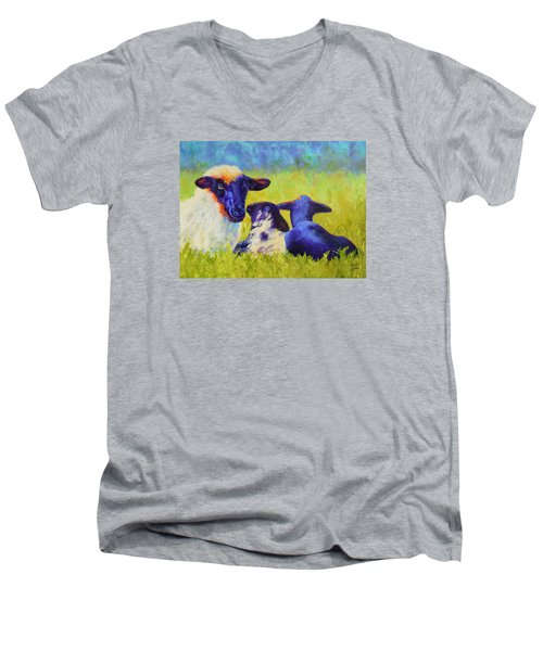 Mom And The Kids Men's V-Neck T-Shirt by Nancy Jolley