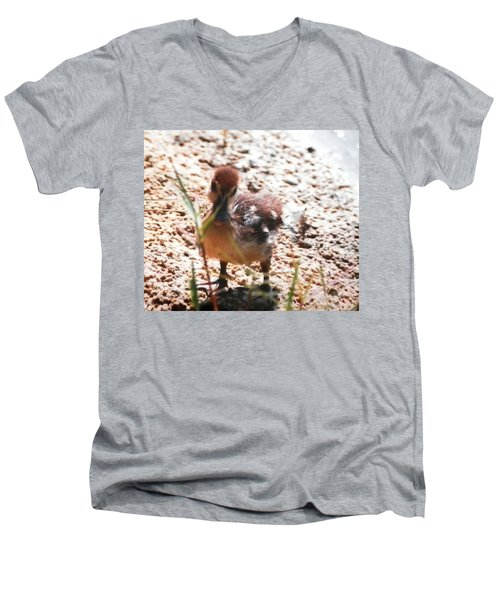 Men's V-Neck T-Shirt featuring the photograph Duckling Searching by Belinda Lee