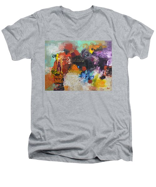 Moment Of Connection Men's V-Neck T-Shirt by Sally Trace