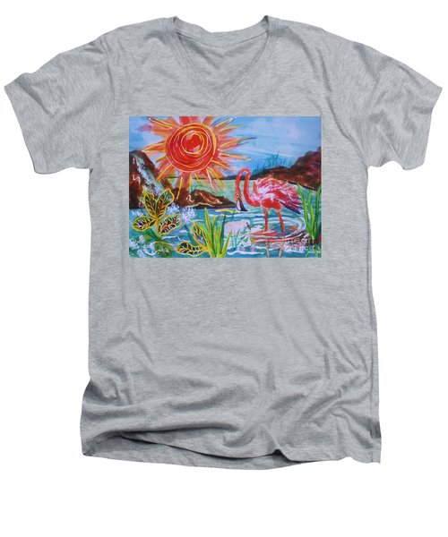 Momma And Baby Flamingo Chillin In A Blue Lagoon  Men's V-Neck T-Shirt
