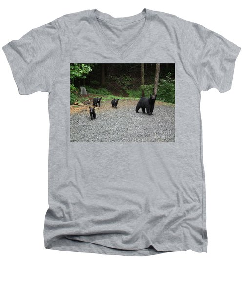 Men's V-Neck T-Shirt featuring the photograph Momma And Three Bears by Jan Dappen