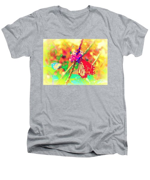 Men's V-Neck T-Shirt featuring the painting Monarch Butterfly  by David Mckinney