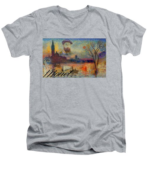 Monet-esque Men's V-Neck T-Shirt by Greg Sharpe