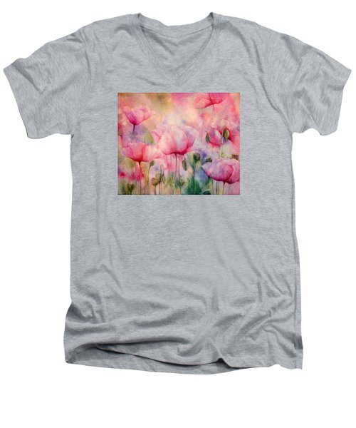 Monet's Poppies Vintage Warmth Men's V-Neck T-Shirt