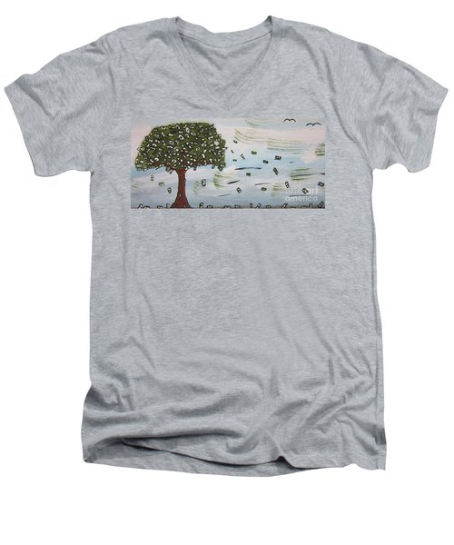 Men's V-Neck T-Shirt featuring the painting  The Money Tree by Jeffrey Koss