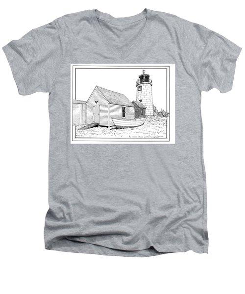 Monhegan Island Light Men's V-Neck T-Shirt by Ira Shander