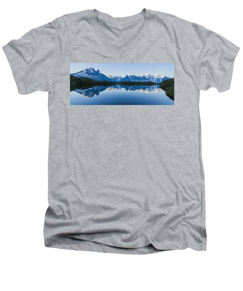 Mont Blanc Massif Panorama Men's V-Neck T-Shirt