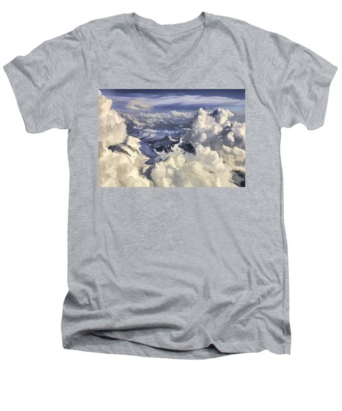 Men's V-Neck T-Shirt featuring the painting Mont Blanc by Muhie Kanawati
