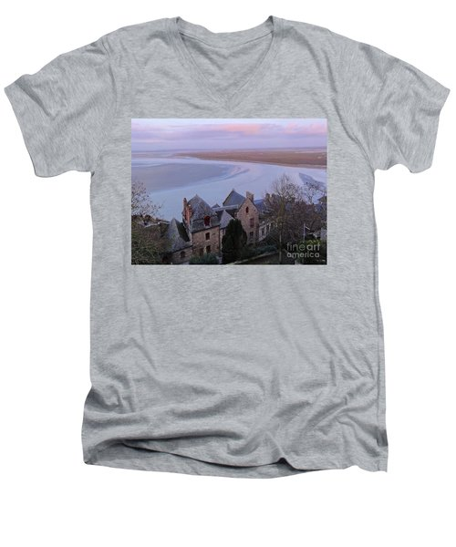 Mont St Michel Tower View Men's V-Neck T-Shirt