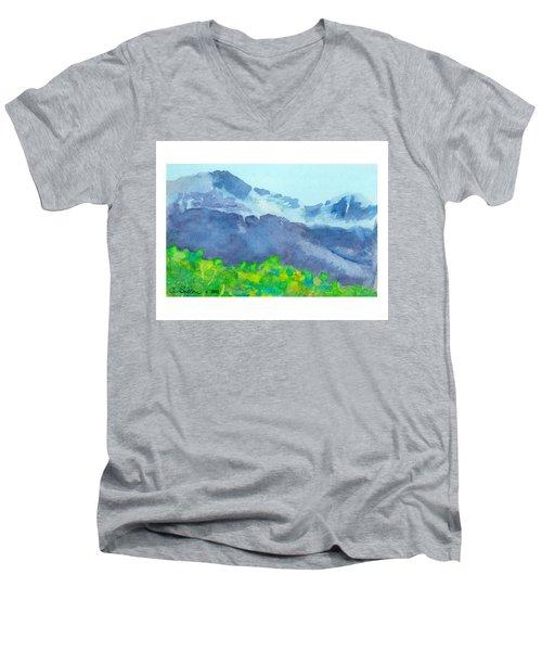 Montana Mountain Mist Men's V-Neck T-Shirt by C Sitton