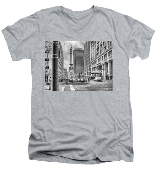 Men's V-Neck T-Shirt featuring the photograph Monument Circle by Howard Salmon