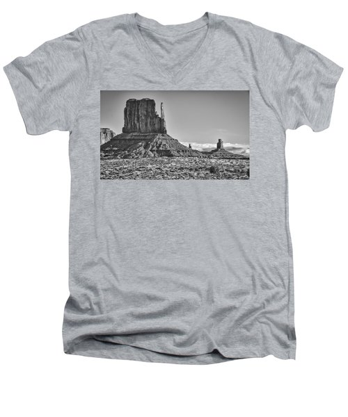 Men's V-Neck T-Shirt featuring the photograph Monument Valley 3 Bw by Ron White
