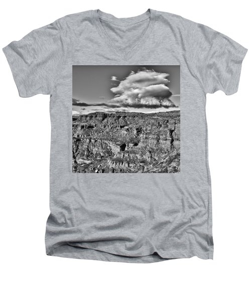 Men's V-Neck T-Shirt featuring the photograph Monument Valley 5 Bw by Ron White