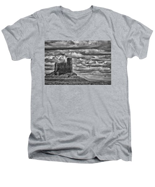 Men's V-Neck T-Shirt featuring the photograph Monument Valley 6 Bw by Ron White