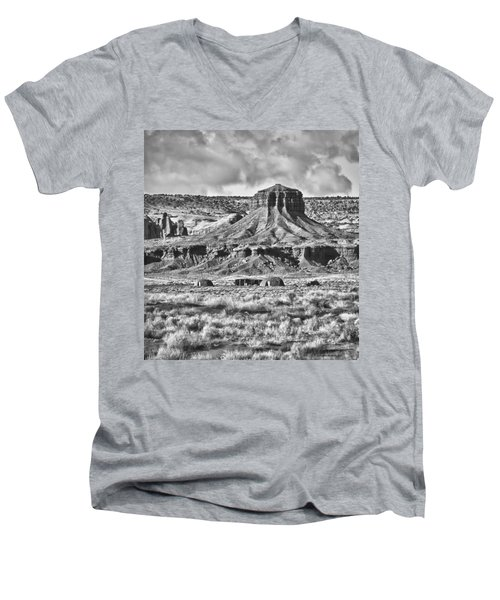 Men's V-Neck T-Shirt featuring the photograph Monument Valley 7 Bw by Ron White