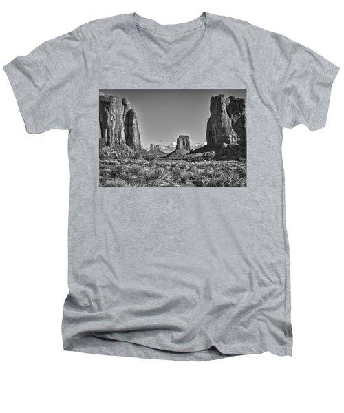 Men's V-Neck T-Shirt featuring the photograph Monument Valley 8 Bw by Ron White