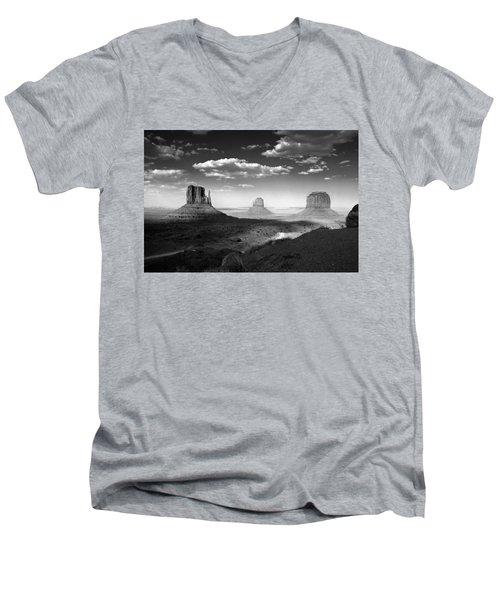 Monument Valley In Black And White Men's V-Neck T-Shirt