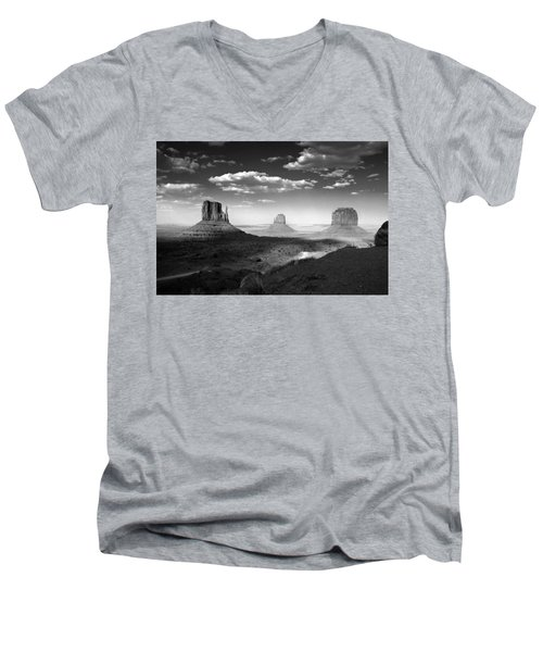 Monument Valley In Black And White Men's V-Neck T-Shirt