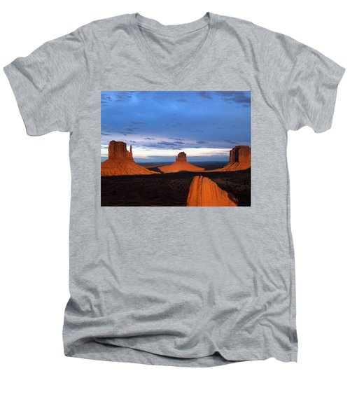 Men's V-Neck T-Shirt featuring the photograph Monument Valley @ Sunset 2 by Jeff Brunton