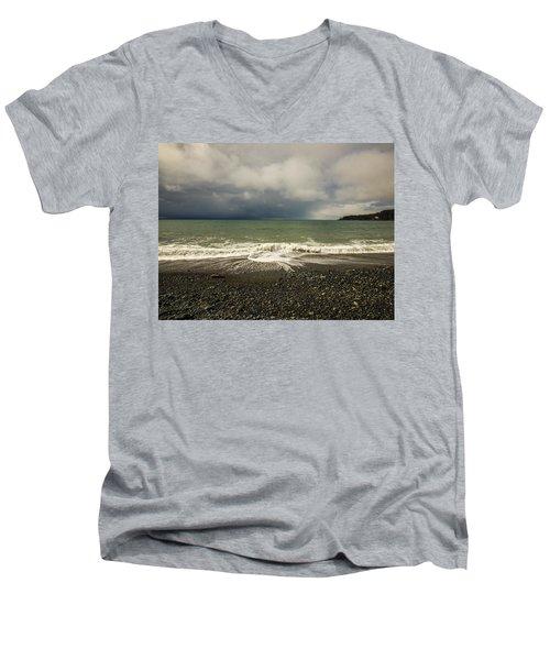 Moody Swirl French Beach Men's V-Neck T-Shirt by Roxy Hurtubise
