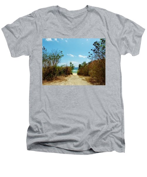 Men's V-Neck T-Shirt featuring the photograph Moon Bay Walk by Amar Sheow