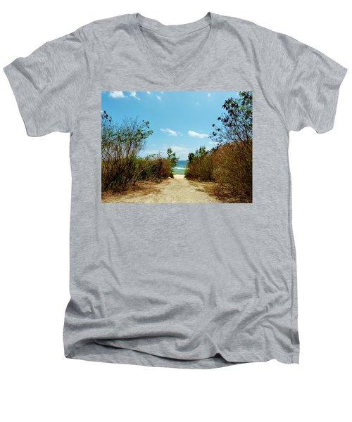 Moon Bay Walk Men's V-Neck T-Shirt by Amar Sheow