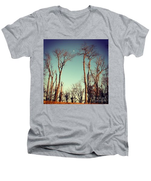 Men's V-Neck T-Shirt featuring the photograph Moon Between The Trees by Kerri Farley
