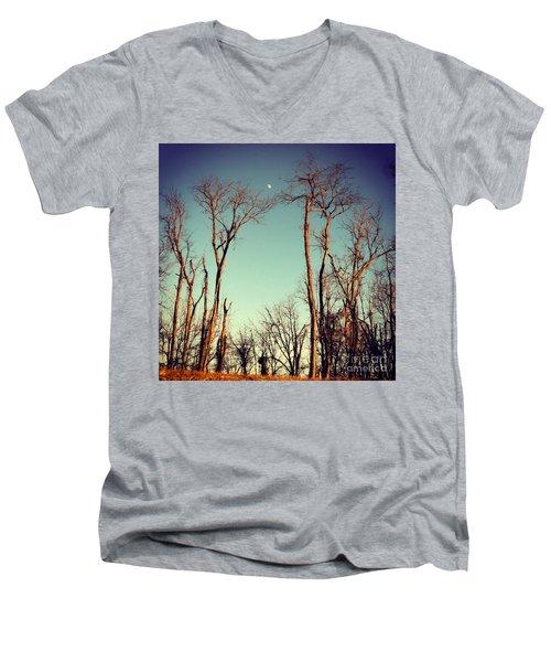 Moon Between The Trees Men's V-Neck T-Shirt by Kerri Farley