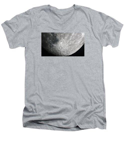 Moon Hi Contrast Men's V-Neck T-Shirt by Greg Reed