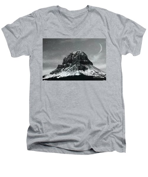Moon Over Crowsnest Men's V-Neck T-Shirt