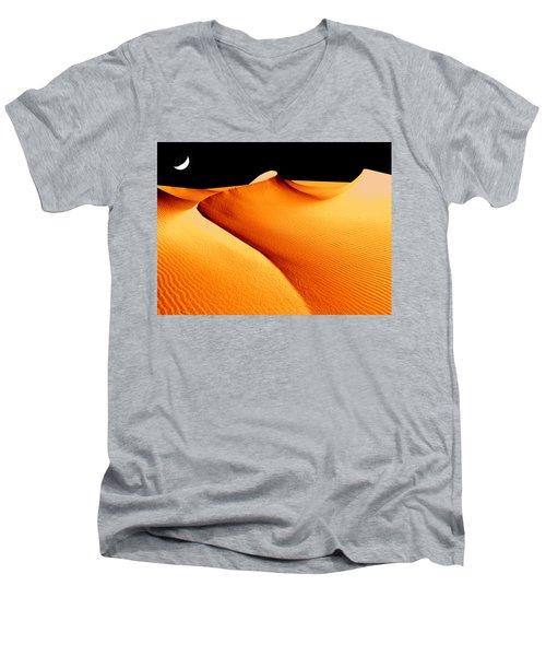 Moon Over Sand Dunes Men's V-Neck T-Shirt