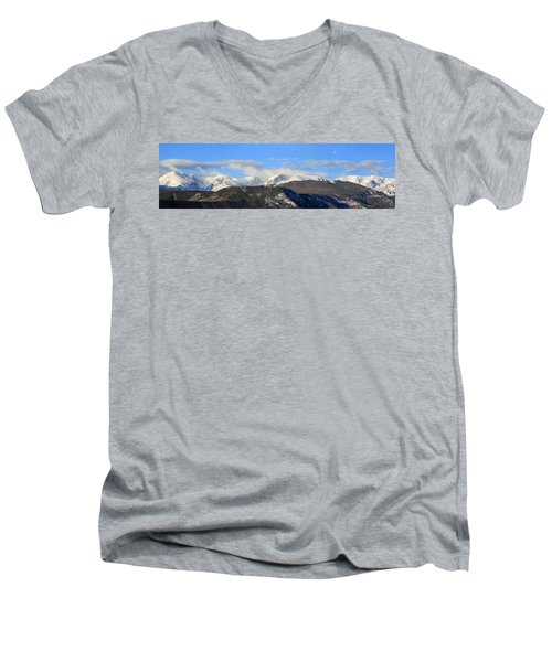 Moon Over The Rockies - Panorama Men's V-Neck T-Shirt