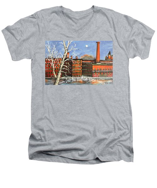 Moon Over Waltham Watch Men's V-Neck T-Shirt by Rita Brown