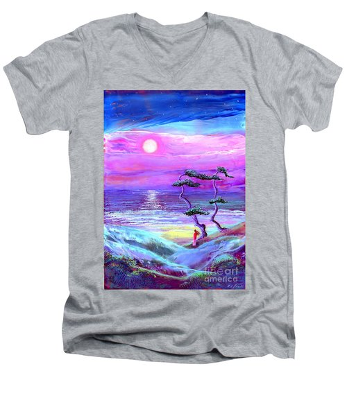 Moon Pathway,seascape Men's V-Neck T-Shirt