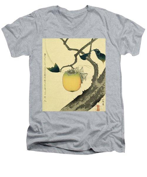 Moon Persimmon And Grasshopper Men's V-Neck T-Shirt by Katsushika Hokusai