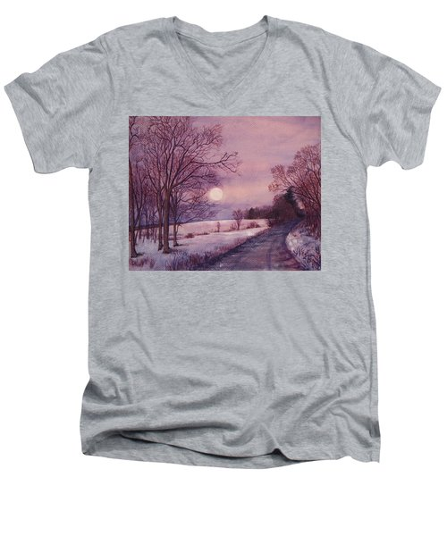 Moon Rising Men's V-Neck T-Shirt by Joy Nichols