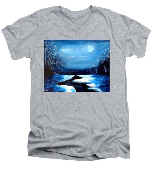 Moon Snow Trees River Winter Men's V-Neck T-Shirt