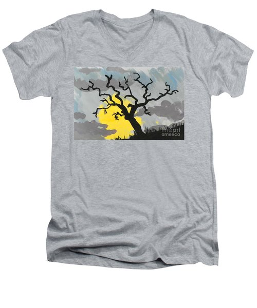 Men's V-Neck T-Shirt featuring the painting Moon Tree by Marisela Mungia
