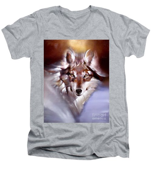 Moon Wolf Men's V-Neck T-Shirt