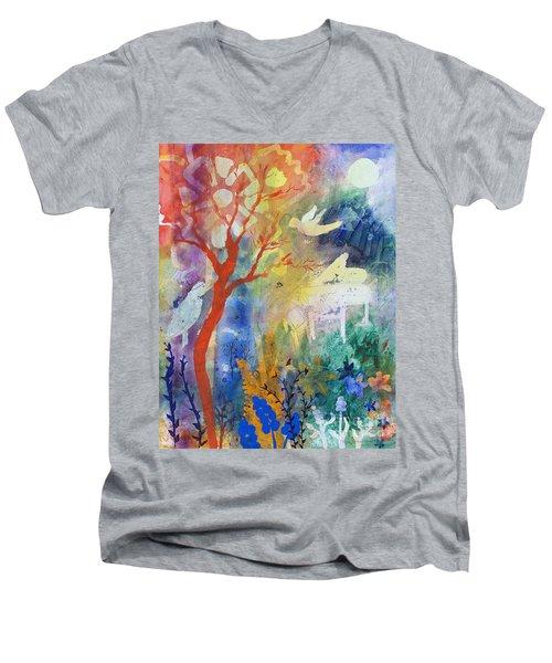 Men's V-Neck T-Shirt featuring the painting Moonlight Serenade by Robin Maria Pedrero