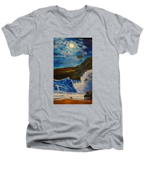 Men's V-Neck T-Shirt featuring the painting Moonlit Wave 11 by Jenny Lee