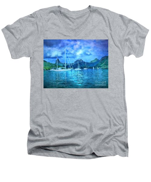 Men's V-Neck T-Shirt featuring the digital art Moonrise In Mo'orea by Lianne Schneider