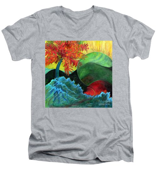 Moonstorm Men's V-Neck T-Shirt by Elizabeth Fontaine-Barr