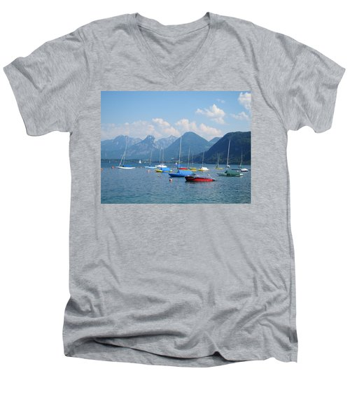 Men's V-Neck T-Shirt featuring the photograph Moored Boats by Pema Hou